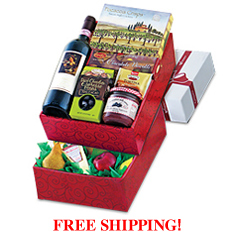 Chianti, Fruit, Cheese & Italian Gourmet Double Decker Gift Box