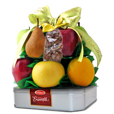 Delacre Ensemble Belgian Chocolate Cookies N' Fruit Basket