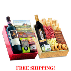 Taste of the Old Country Italian Wines & Antipasto Double Decker Gift Box