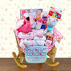 Wicker Baby Rocker Girl Gift Basket