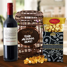 Wine Barrel Cork Cage & Cabernet Gift Basket