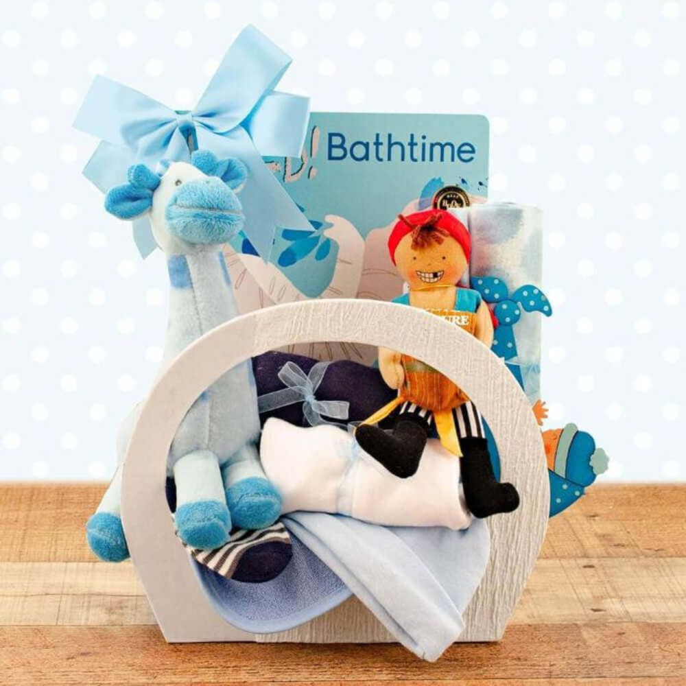 2809f59bdd972 Welcome Home Baby Boy Starter Gift Basket